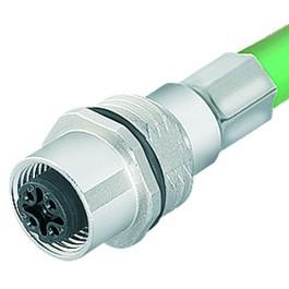 Binder Serie 876 Flanschdose M12 mit geschirmtem Kabel und D-Kodierung